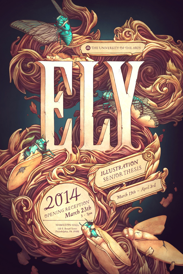 Ely Senior Thesis Poster: fantastic Illustration with type
