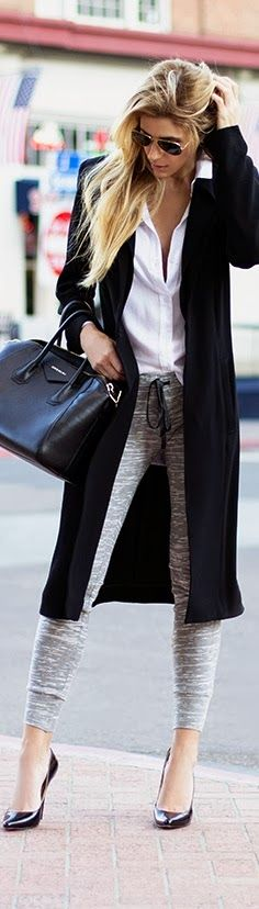 Fashionista: black long coat white shirt purse with pant and high heel shoes