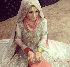 Bride in Hijab in Cream White & Coral Pink.. <3