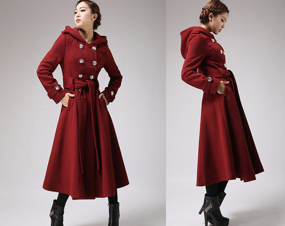 Military coat red wine jacket cashmere coat winter by xiaolizi