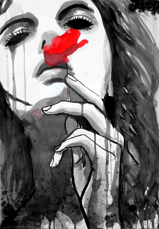 """Loui Jover; Pen and Ink 2012 Drawing """"scent"""""""