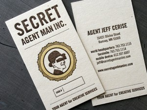 Secret Agent Man Letterpress Business Cards