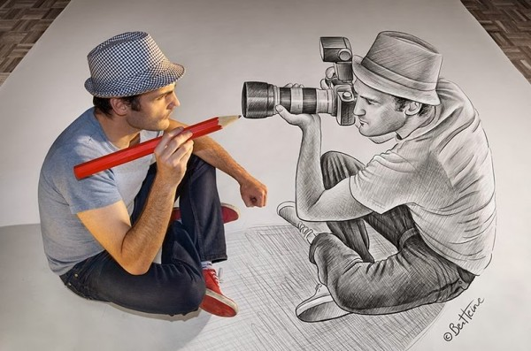3D Charcoal and Pencil Drawing