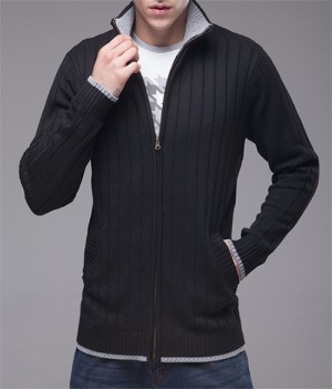 Men's Black Ribbed Zip-Up Cardigan