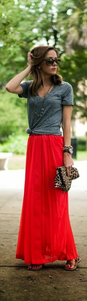 Grey shirt and red long skirt combo   HIGH RISE FASHION