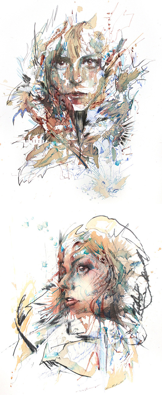 Tea, Vodka, Whiskey and Ink Portraits by Carne Griffiths   Inspiration Grid   Design Inspiration