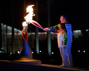 Russia's Olympic Legends Light the Cauldron