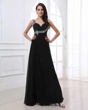 Beading Straps Sweetheart Floor Length Evening Dress | WeddingDressBee