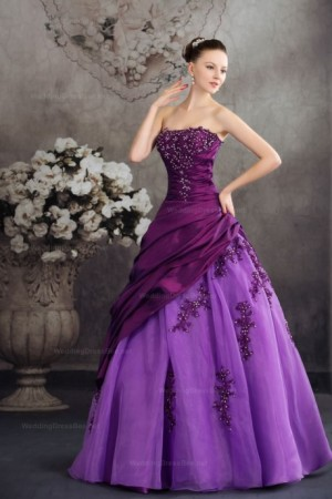 Fantastic Lace Appliques Detailed Taffeta Over Organza Ball Gown Dress at $215.98 | WeddingDressBee