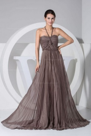 Halter neck pleated chiffon flowy a-line floor-length evening dress|shgeno at154.98 | WeddingDr ...