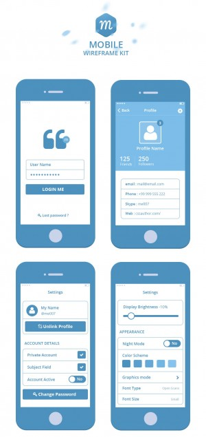 Mobile Wireframe Kit – Freebies – Fribly