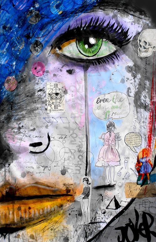 """51c388c143d702 Saatchi Art Artist  Loui Jover  Paper Painting """"she s well acquainted """""""