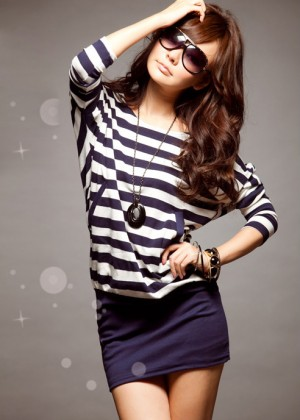 Stylish Stripes Patterns Bat Sleeve Colormatching Dress For Women (BLACK)