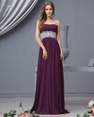 Sweetheart Chiffon Floor Length Bridesmaid Dress Gown |