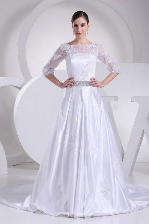 A-line Court Train Bateau Taffeta Wedding Dress(BT44300)