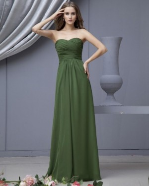 Empire Strapless Chiffon Brush Train Bridesmaid Dress |