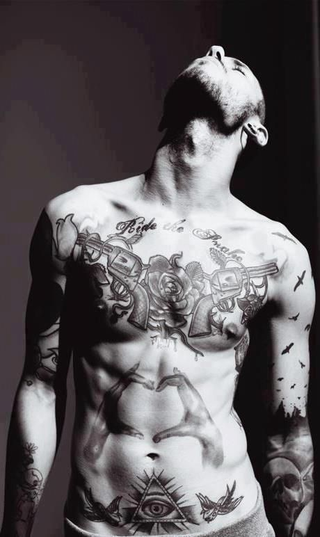 Mens Chest Tattoo With 2 Guns