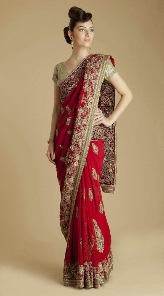 Red and gold sari. Old world classic.