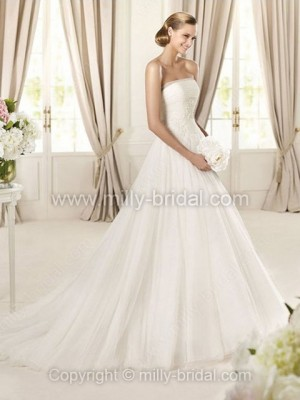 A-line Strapless Tulle Sweep Train Beading Wedding Dresses