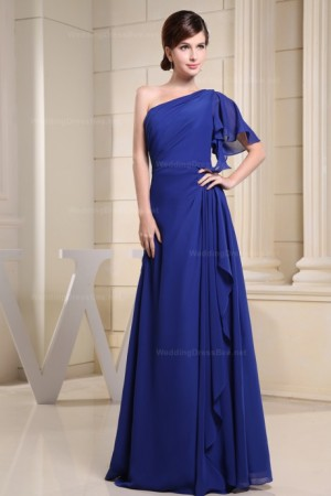 Amazing one shoulder with short sleeve chiffon floor length bridesmaid dress – | WeddingDr ...