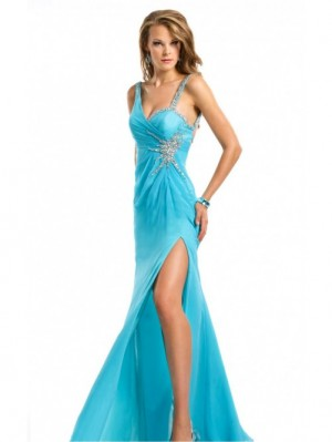 Blue Sheath Floor-length Spaghetti Straps Dress