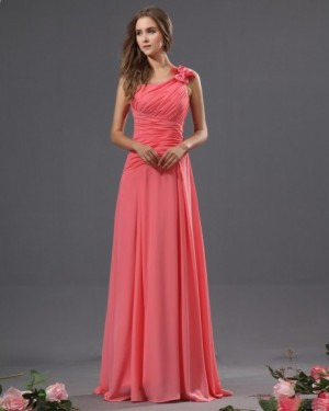 Bowtie Chiffon One Shoulder Floor Length Bridesmaid Dress | WeddingDressBee