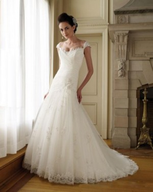 Capped Sleeve Sweetheart Satin Tulle Lace A line Wedding Dress |