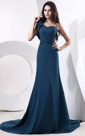Cheap Navy A-line One Shoulder Natural Waist Chiffon Floor length Bridesmaid Dress(BNNAH0047)|Ki ...
