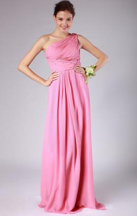 Cheap Simple/Elegant A-line Empire Floor Length Pink One Shoulder Bridesmaid Dress(BNNAD1221)|Ki ...