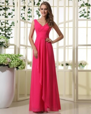 Chiffon V neck Floor Length NaturalWaist Bridesmaid Dress