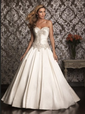 custom made sweetheart neckline satin wedding dress for Angela Sabers (with 2 foot train on the ...