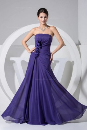 Elegant chiffon dress in floor length with hand made flower decoration. – | WeddingDressBee