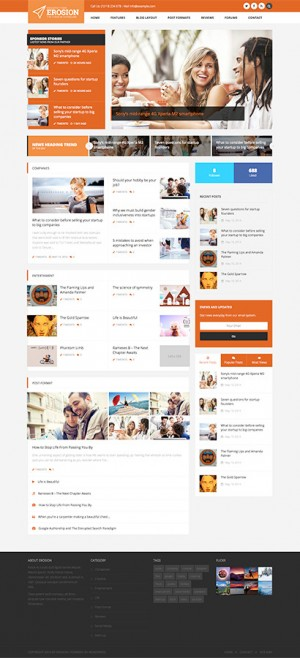 EROSION is powerful WordPress theme for blogging, magazine and company news portal with a lot of ...
