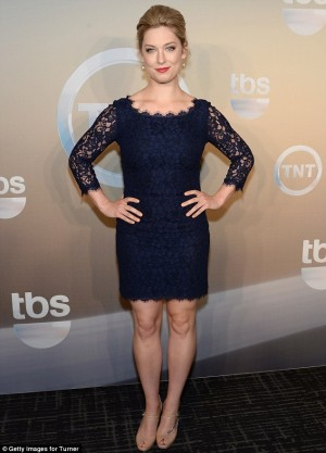 Cougar Town star Briga Heelan looked elegant in a midnight blue lace.