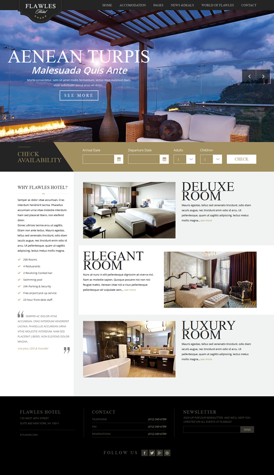 FlawlesHotel is a sleek and clean HTML Hotel Booking template for your hotel business. The layou ...