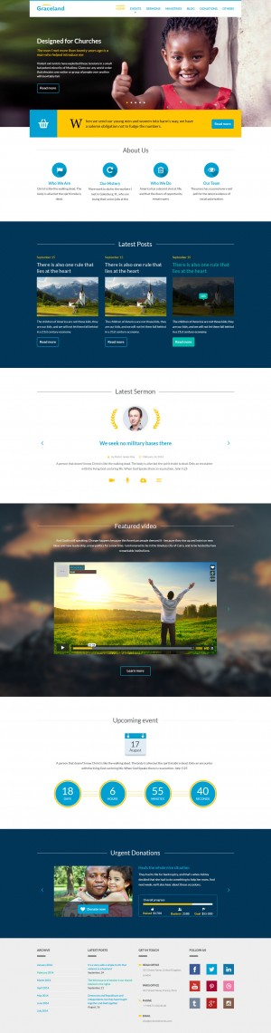 Graceland is a clean & modern PSD template for your Church or Nonprofit organization with ma ...