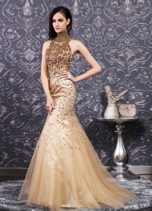 high neck sleeveless mermaid dress with beading