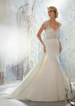 wedding Photo – style 357.00 mori lee 1954 Crystal Beaded Embroidery Overlaying Lustrous S ...