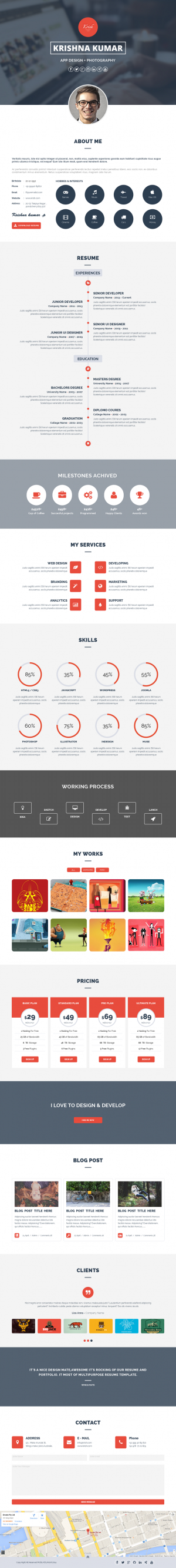 Krish parallax one page resume & portfolio Muse Template is absolutely new style one page an ...
