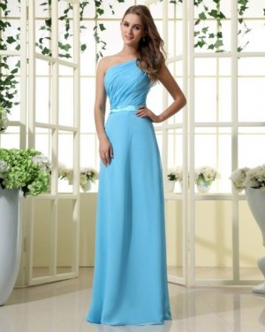 One Shouder Floor Length Chiffon Bridesmaid Dress with Droped bodice | WeddingDressBee