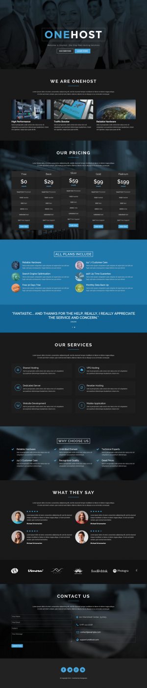 Onehost one page responsive HTML 5 hosting template build with latest Bootstrap 3. Onehost help ...