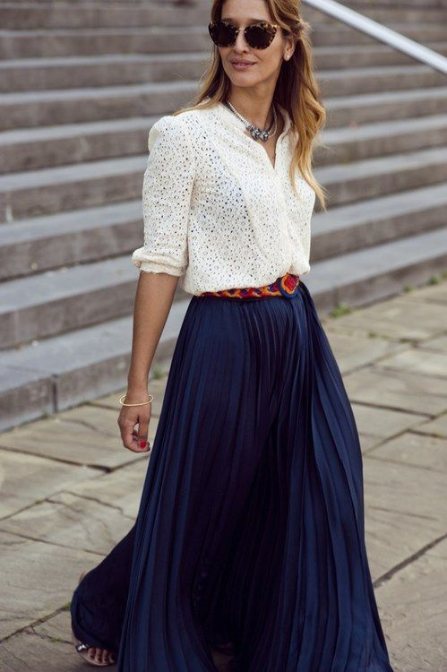 Pleated Chiffon Maxi Skirt + belt+ fitted lace top.