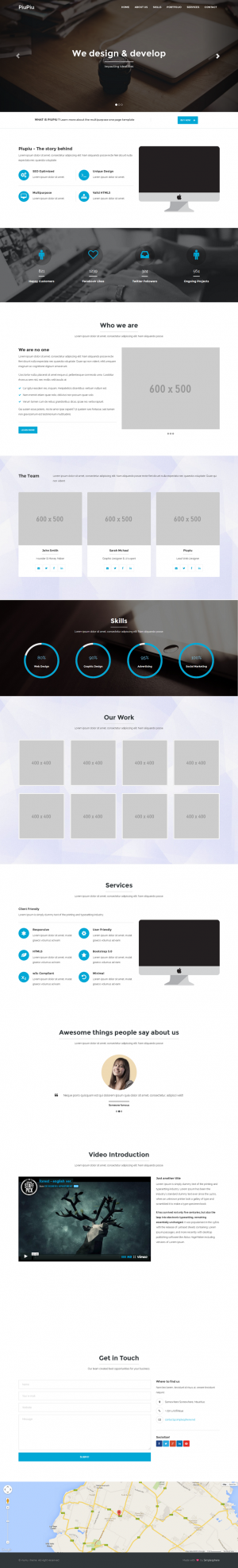 PiuPiu is a clean and modern one page template designed to fit all needs. Consice and client ori ...