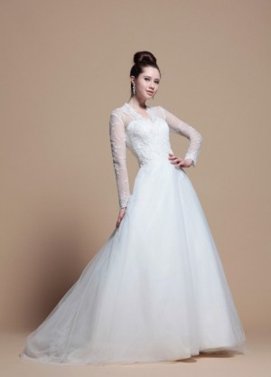 Princess Long Sleeve V Neck Wedding Dress – | WeddingDressBee