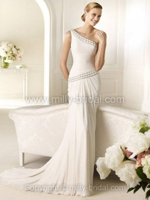 Sheath/Column One Shoulder Chiffon Sweep Train Beading Wedding Dresses