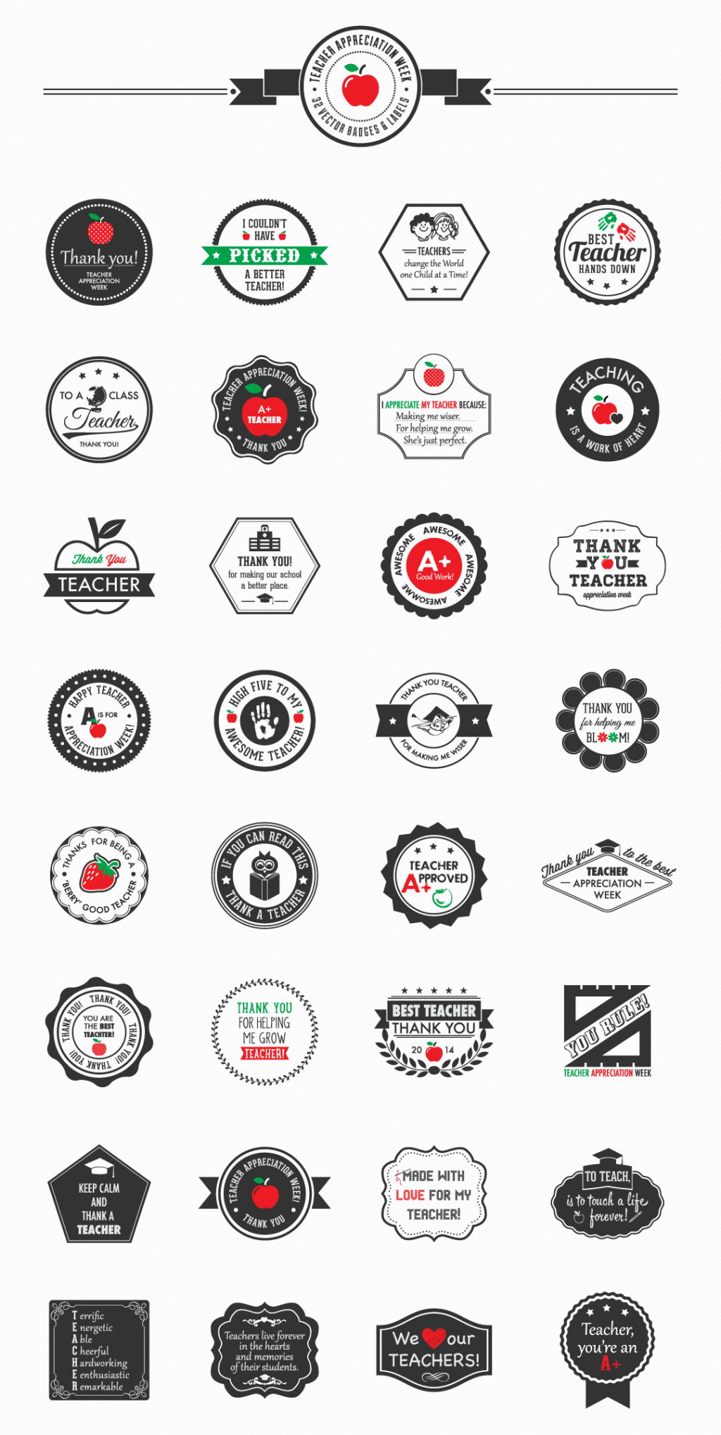 Teacher Appreciation Week Mega Pack – 32 Vector Badges & Labels | Downgraf