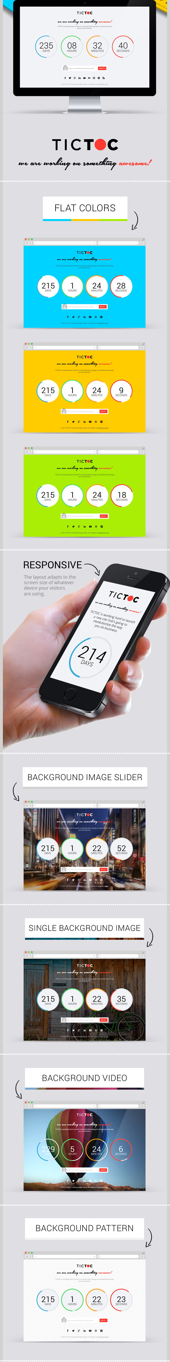 TICTOC coming soon countdown page is a clean, elegant, responsive, animated countdown coming soo ...