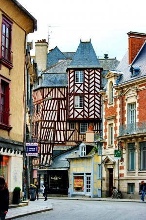 Timbered buildings in Rennes, France