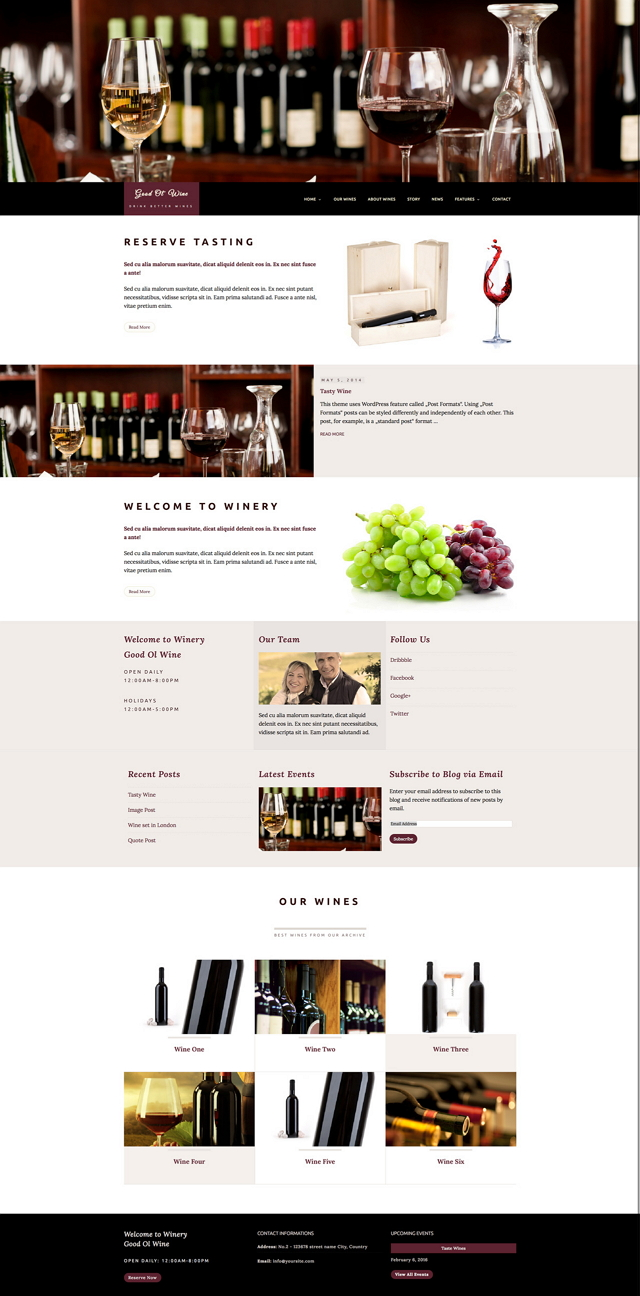 """""""Good Ol' Wine"""" is a beautiful responsive WordPress Theme perfectly suited for wine enthusiasts ..."""
