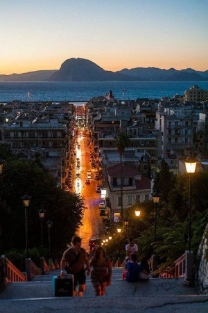 Late evening in the Port city of Patras , Greece